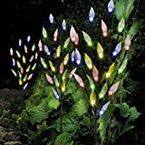 Set of 3 Solar Powered Tree Branch Lights for Garden Decorations with Leaf Design | Fairy Decorative 60 LED for Patio, Decking, Pathway | Multi Colour