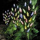 Set von 3Solar-Leuchten AST für Garten Dekorationen mit Leaf Design | Fairy Deko 60LED für Terrasse, Terrassendielen, Weg in | Multi Farbe