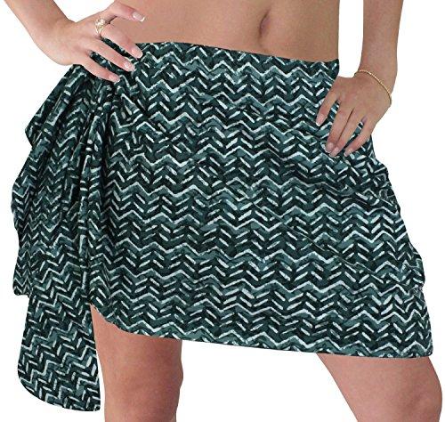 La Leela 100% cotone zig zag esplorare donne involucro bikini sarong 78x21 pollici verdi