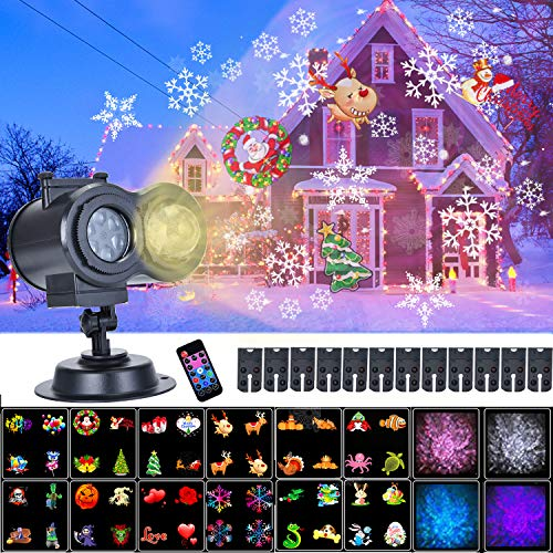 Soontrans LED Projektor Weihnachten Halloween Silvester Ostern Geburtstag LED Projektionslampe 12 Motive mit Wasserwelleneffekt, Wasserdicht IP44 Projektor Weihnachtsbeleuchtung Außen zum Party