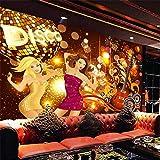 Murales 3D su misura senza cuciture sfondo panno karaoke chitarra musica colorata bellezza bar discoteca murales KTV Carta Da Parati moderna 3D Fotomurali spiaggia-250cm×170cm