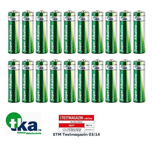 tka Köbele Akkutechnik Mignon-Batterie-Set: Super-Alkaline-Batterien Mignon 1,5V Typ AA, 20 Stück (Sparpack Alkaline-Batterie)