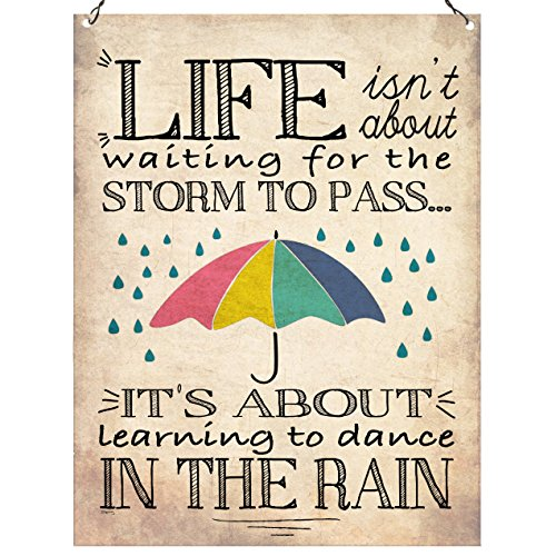 Life isn 't about waiting for the Storm To Pass Vintage inspirierendes Zitat Wand Metall Schild retro 15 x 20 cm