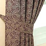 Homescapes Aubergine Purple Curtain Tie back Pair Traditional Floral Motif Pattern 2 Tie Backs for Matching Curtains