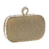Da.Wa donna pochette da sera vintage frizioni borsa da donna borsetta borsa strass per festa da sposa regalo di compleanno, Gold, 16.5*12.5cm