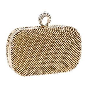 Da.Wa – Bolsas de Embrague para Mujer, Estilo Vintage, con Purpurina, para Fiesta, Boda, Novia, Regalo de cumpleaños, Dorado, 16.5 * 12.5cm