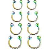 Funseedrr 8pcs Ferro di Cavallo Labbro Labret Ring Acciaio Inossidabile 16G 6/8/10/12mm Cerchio Setto Tragus Helix Cartilagin
