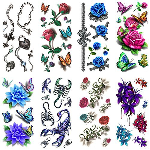 Oottati 8 fogli assortiti temporary tattoo 3d multiple rose flowers scorpione