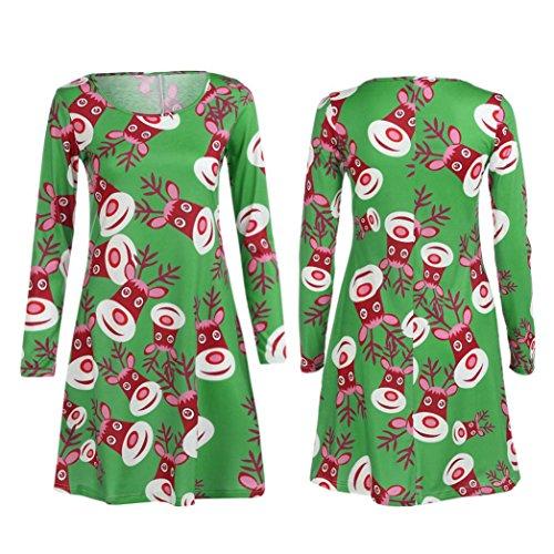 Damen Weihnachten Kleid, Huihong Plus size Langarm Weihnachten Party Kleid Xmas drucken lange Pullover Kleid a-Linie Rock Cocktail Kleid Santa Clau Schnee Mann Elch print Kleid (Sexy Grün, M) (Plus-size-print-rock)