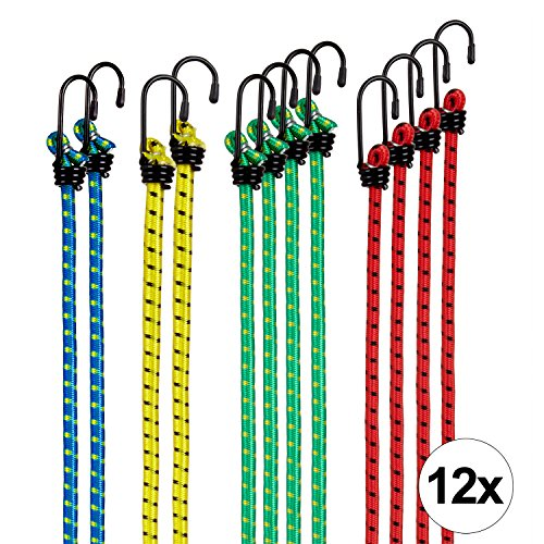 TECAROO set de 12 gomas elásticas con gancho, extremadamente resistentes | con 2 años de garantía de satisfacción | bandas de tensión, cuerdas de sujeción, pulpos para baca
