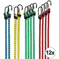 CARTECO Set de 12 Gomas elásticas con Gancho, Extremadamente Resistentes, Bandas de tensión, Cuerdas de sujeción, pulpos para baca