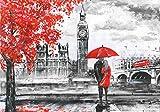 DekoShop Fototapete Stadt/städtisch London P8 (368cm. x 254cm.) Moderne Wanddeko Wandtapete Wand Dekoration AMD11471P8 Stadt London Gemälde Big Ben Kunst Baum Liebe Tapetenkleister Gratis