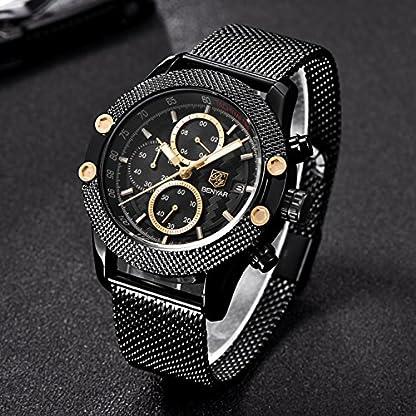 Herren-Uhren-Quarz-Chronograph-Wasserdicht-Business-Casual-Sport-Mesh-Steel-Band-Armbanduhr