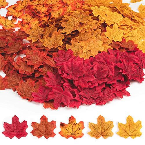 UNC7E 500 Stück Künstliche Herbst Ahornblätter, Ahornblatt Deko Herbstlaub Blätter Girlande für Halloween,Partei, Festival - Auch Bald Kostüm Partei