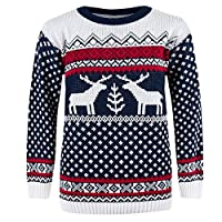 CostMad Mens Christmas Xmas Fairisle Reindeer Novelty Print Jumper Knitted Retro Vintage Crew Neck Sweater Pullover Classic Winter Top (M, Navy)