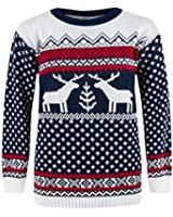 CostMad Mens Christmas Xmas Fairisle Reindeer Novelty Print Jumper Knitted Retro Vintage Crew Neck Sweater Pullover Classic Winter Top