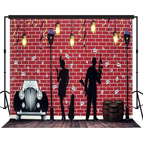 fie Hintergrund Hintergrund Party Wand Foto Booth Requisiten 10x10ft - #1625 rot Backsteinwand Gangster Thema, mit Böden ()