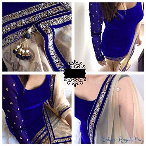 Clothfab Royal Blue Velvet Women's Semi-Stitched Salwar Suit Set (Velvet-Royal Blue1_Free Size)