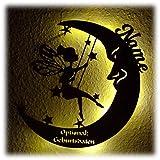 Schlummerlicht Leuchtsterne Nachtlicht Led Lampe personalisiert Schaukel Fee auf Mond Geschenke zur Geburt Geschenk mit Name Geburtsdaten persönlich Mädchen