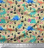 Soimoi Beige Baumwolle Ente Stoff Dinosaurier & Blätter Kinder Dekor Stoff gedruckt 1 Meter 42 Zoll breit