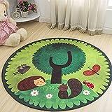 WXDD Kinder's Schlafzimmer Bett Kissen, Garderobe, Schminktisch, Blumenampel, Computer Stuhl, Fußmatte, Wohnzimmer Tisch, runder Teppich, Durchmesser 60 cm [Kreis], grün grün Wald