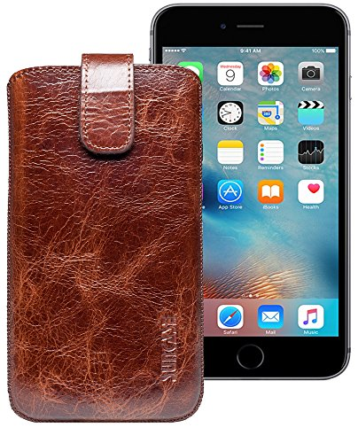 Suncase ECHT Ledertasche Leder Etui für iPhone 7 PLUS / iPhone 6s PLUS Tasche (mit Rückzugsfunktion) antik-dunkel braun rustik-tabak braun