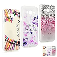 J3 2016 Cases [3 Pack] MAXFE.CO Crystal Clear Soft Silicone Case Ultra Slim Protective Rubber Gel Cases for Samsung Galaxy J3 2016, Light Spots+Pink Roses+Colorful Pencil