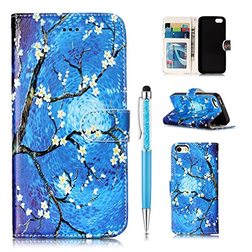 Custodia Pelle per iPhone SE Cover,per iPhone 5S Cover,per iPhone 5, ZCRO Custodia Portafoglio Flip del Cuoio Libro in Pelle Sottile Disegni Wallet Colorate Modello Antiurto Copertura Case con Slot pe Fiori piccoli