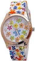 Women's Silicon Band Flower Print Quartz Wrist Watch (Model 4)