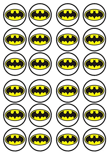 24-Batman-2-Edible-PREMIUM-THICKNESS-SWEETENED-VANILLA-Wafer-Rice-Paper-Cupcake-ToppersDecorations