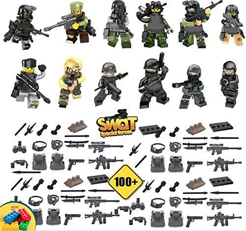 12 Stück Mini-Figuren Swat Special Forces Militär Set mit massenhaft Waffen Weapons und Zubehör