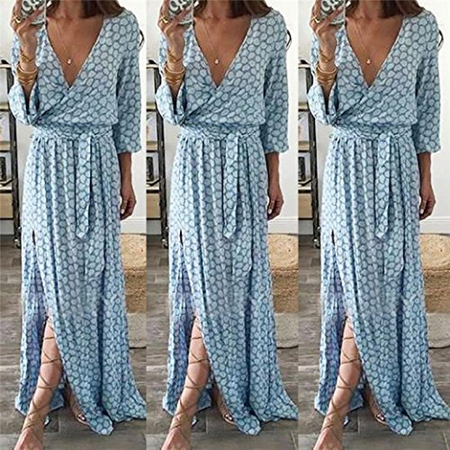 Sunday77 Women Dress Valentine's Day Long Sleeve V Neck Printed Long Maxi Dress with Belt A-Line Casual Print Beach Derss Ankle-Length Evening Swing Party Dress for Women (S, Blue)