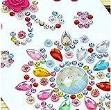 1480pezzi autoadesivo Craft Morkia Jewels, 8fogli adesivi strass autoadesivi da incollare gemma di cristallo fogli per lavoretti fai da te Decorazione, colori assortiti, quadrata