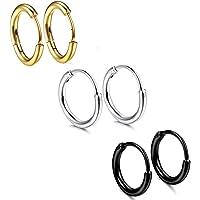 3 paia di orecchini a cerchio in acciaio inox per uomo e donna, 18 g, 12 mm, per orecchio, piercing al naso, alle labbra…