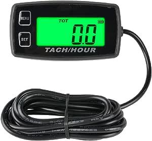 Runleader Tachometer Mit Autarkem Betriebsstundenzähler Wartungserinnerung Alarmdrehzahl Hintergrundbeleuchtetes Display Batterie Austauschbar Für Ztr Rasenmäher Traktorgenerator Außenborder Baumarkt