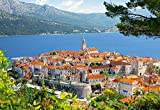 Unbekannt Puzzle 3000 Teile - Kroatien Stadt Korcula - Castorland am Meer Adria Zagreb Kroatisch Landschaft Berg - alte Städte am See