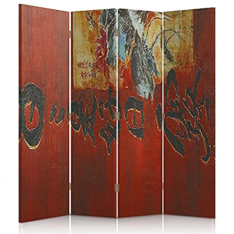 Feeby Frames Canvas Screen, Decorative Room Divider, Paravent, Single sided, 4 panels (145x180 cm) WORLD CULTURE, ORIENT, JAPANESE CALLIGRAPHY, RED,