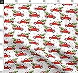 Baum, Rot, Lkw, Hund, Weihnachten, Urlaub, Winter, Stoffe -