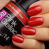 Pink Gellac Gel-Nagellack Shellac,Glamourize Kollektion 15ml UV Nagellack farbiger Nagellack Nagellackfarben (178 Ultimate Red)