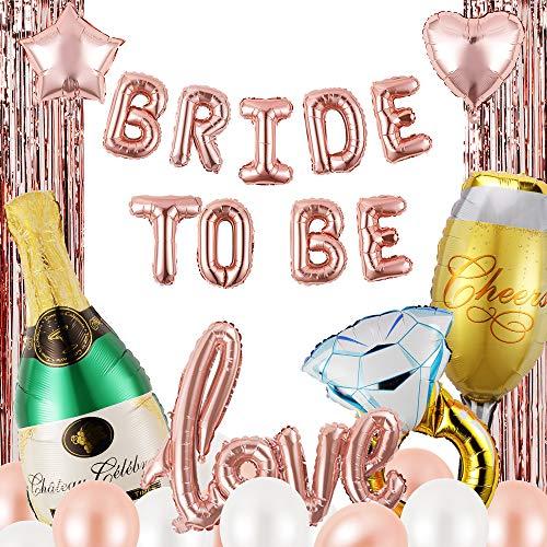 Brautparty & Junggesellinnenabschied, Dekorationsset für Junggesellinnenabschied, Braut-to-Ballon-Set, Roségold, 32-teilig