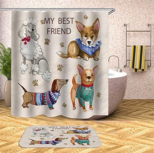 Hunde In Verschiedenen Kostümen. Duschvorhang. Wasserdicht. 180X180Cm. Teppich. Plus Samt. 40X60Cm. (Meer Schwamm Kostüm)