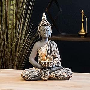 Buddha Statue Teelichthalter 31cm | NEUES MODELL 2018 | Mit vergrößertem Teelichthalter und verbesserter Verpackung!