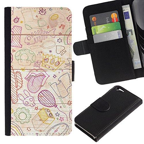Graphic4You Niedlich Plastic Stars Design Brieftasche Leder Hülle Case Schutzhülle für Apple iPhone 6 / 6S Design #17