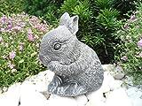 Steinfigur Hase Zwergkaninchen, Gartenfigur Steinguss Tierfigur Basaltgrau