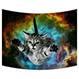 Custom Galaxy Space Cat Tapestry Wall Hanging Safari Animal Wall Decor Art for Living Room Bedroom Dorm Decoration 80X60 Inches