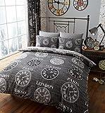 Bettwäsche-Set, Titan-Uhren der Welt, modern, 3Farben, 50 % Baumwolle / 50 % Polyester, schwarz, King Size
