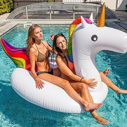 Gigante gonfiabile unicorno piscina galleggiante, giocattolo galleggiante gonfiabile canotto galleggiante per bambini e adulti(275 x 120 x 140 cm)