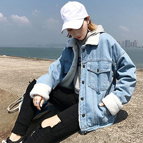 Giacca di Jeans, Donna Caldo Giacche Capispalla Inverno Cappotto Denim Cappotti Azzurro Chiaro