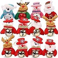 HomeMall 12PCS Cloches de Noël pour la Maison Ornement de, Arbre de Noël, Cloches de décoration de Porte / 10cm * 8cm, (3 * Père Noël, 3 * Bonhomme de Neige, 3 * Renne, 3 * Ours)