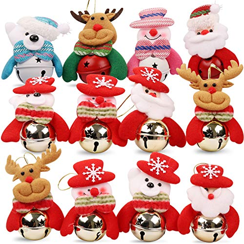 12PCS Christmas Jingle Bells Ornament For Home, Christmas Tree, Door Decoration Bells/10cm*8cm, (3*Santa, 3*Snowman, 3* Reindeer, 3*Bear )